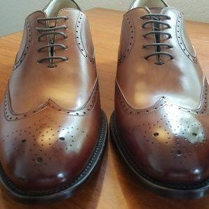 Ace Marks Italian Tan Wingtip Oxford Dress Shoes